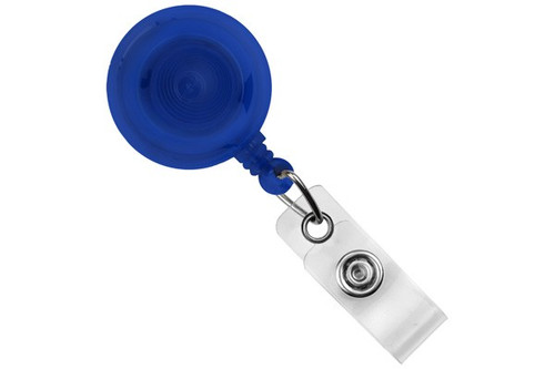 Translucent Royal Blue Round Badge Reel With Strap And Slide Clip (25/pk)