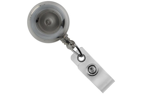 Translucent Clear Round Badge Reel With Strap And Slide Clip (25/pk)