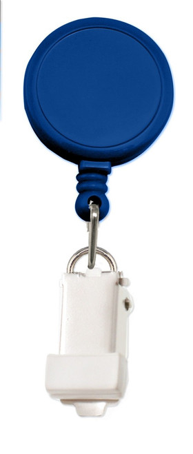 Royal Blue Round Badge Reel With Card Clamp And Slide Clip (25/pk)