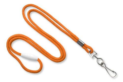 "Orange 1/8"" Black Round Braided Breakaway Lanyard, Swivel Hook (100/pk)"