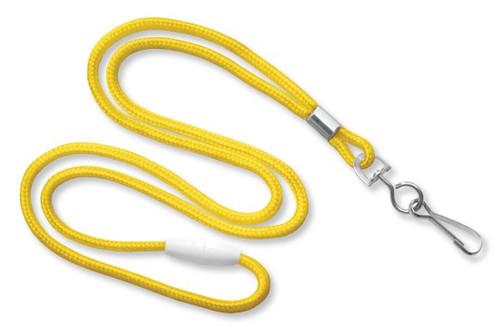 """Yellow 1/8"""" Black Round Braided Breakaway Lanyard, Swivel Hook (100/pk)"""