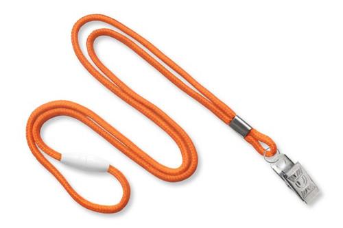 Orange 1/8 Round Braided Breakaway Lanyard, Bulldog Clip (100/pk)
