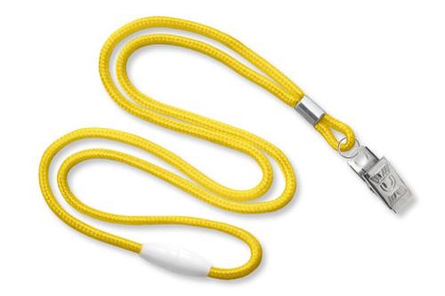Yellow 1/8 Round Braided Breakaway Lanyard, Bulldog Clip (100/pk)