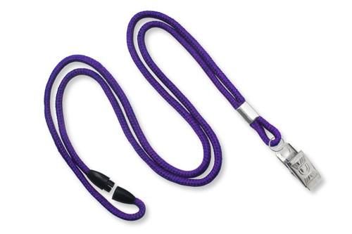 Purple 1/8 Round Braided Breakaway Lanyard, Bulldog Clip (100/pk)