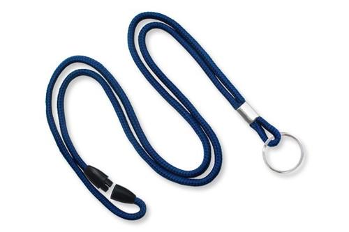 Navy Blue 1/8 Round Braided Breakaway Lanyard, Split Ring (100/pk)