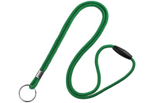 Green 1/8 Round Braided Breakaway Lanyard, Split Ring (100/pk)