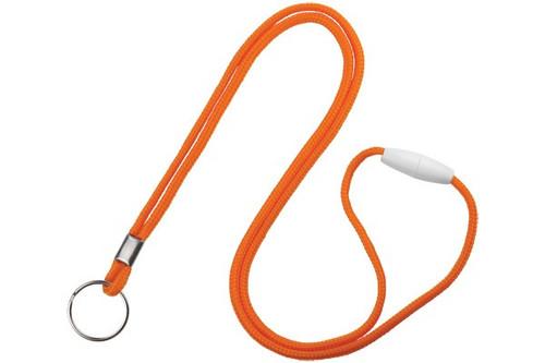 Orange 1/8 Round Braided Breakaway Lanyard, Split Ring (100/pk)