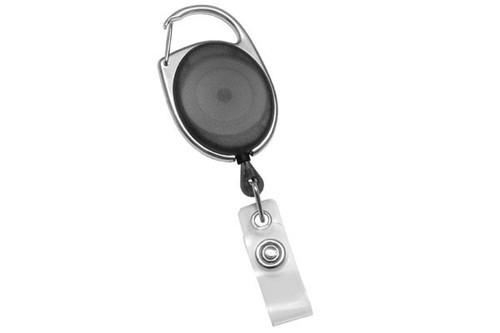 Translucent Black Premier Carabiner Badge Reel with Clear Vinyl Strap (25/pk)