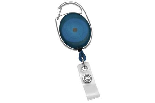 Translucent Blue Premier Carabiner Badge Reel with Clear Vinyl Strap (25/pk)