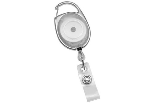 Translucent Clear Premier Carabiner Badge Reel with Clear Vinyl Strap (25/pk)