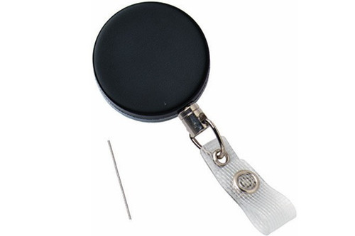 Black /Chrome Heavy-Duty Badge Reel with Wire Cord Reinforced Vinyl Strap & Belt Clip (25/pk)