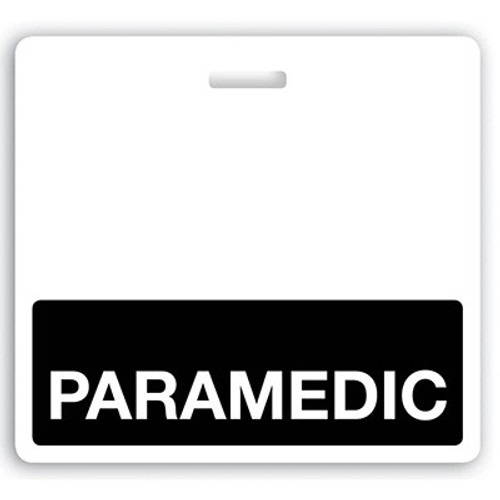 "Horizontal ""PARAMEDIC"" Badge Buddies with Black bar, 3.38"" x 3.09"" (25/pk)"
