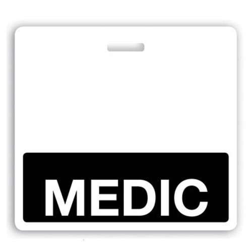"Horizontal ""MEDIC"" Badge Buddies with Black bar, 3.38"" x 3.09"" (25/pk)"