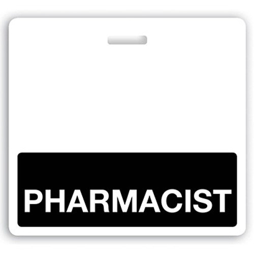 "Horizontal ""PHARMACIST"" Badge Buddies with Black bar, 3.38"" x 3.09"" (25/pk)"