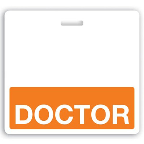 "Horizontal ""Doctor"" Badge Buddies with Orange bar, 3.38"" x 3.09"" (25/pk)"