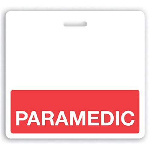 "Horizontal ""PARAMEDIC"" Badge Buddies with Red bar, 3.38"" x 3.09"" (25/pk)"