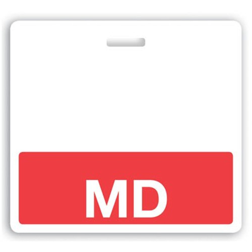 "Horizontal ""MD"" Badge Buddies with Red bar, 3.38"" x 3.09"" (25/pk)"