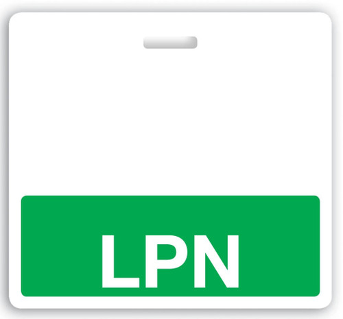 "Horizontal ""LPN"" Badge Buddies with Green  bar, 3.38"" x 3.09"" (25/pk)"