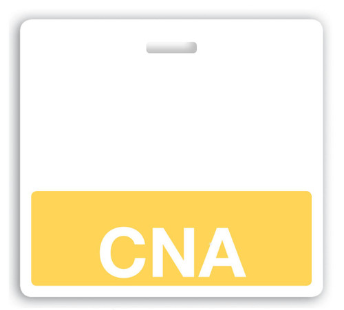"Horizontal ""CNA"" Badge Buddies with Yellow bar, 3.38"" x 3.09"" (25/pk)"