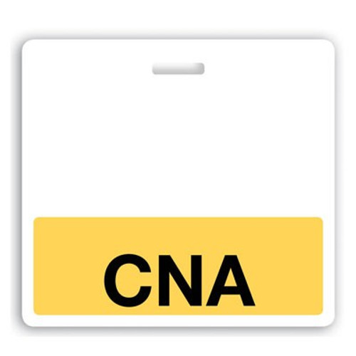 "Horizontal ""CNA"" Badge Buddies with Yellow bar and black text, 3.38"" x 3.09"" (25/pk)"