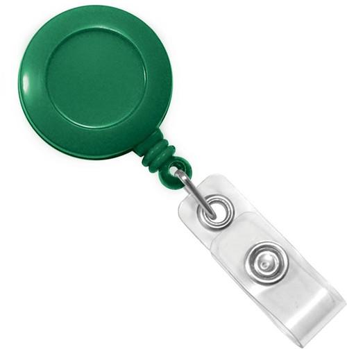 Green Badge Reel with Clear Vinyl Strap & Belt Clip (25/pk)