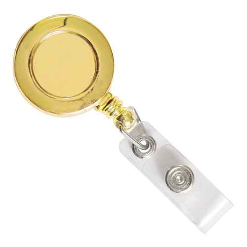 Gold Badge Reel with Clear Vinyl Strap & Belt Clip (25/pk)