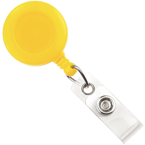 Yellow Badge Reel with Clear Vinyl Strap & Belt Clip (25/pk)