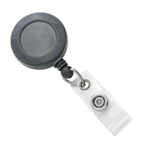 Gray Badge Reel with Clear Vinyl Strap & Belt Clip (25/pk)