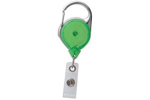 Green Twist-Free Translucent Carabiner Reel With Strap (25/pk)