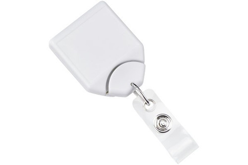 White B-REEL™ Badge Reel with swivel-clip with teeth (25/pk)