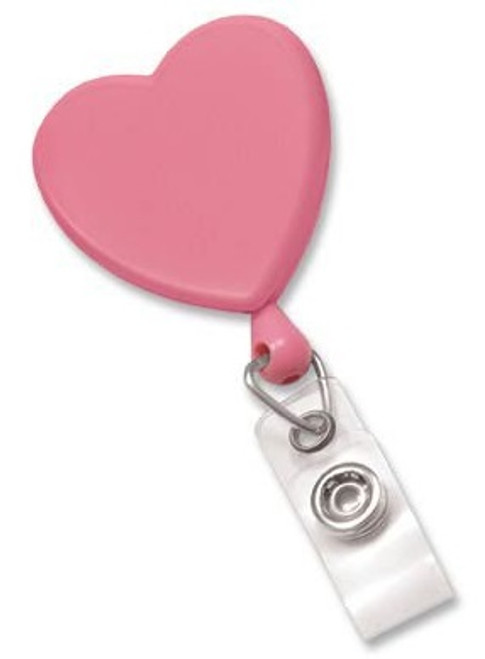Pink Heart-Shaped Badge Reel with Clear Vinyl Strap & Swivel Spring Clip (25/pk)
