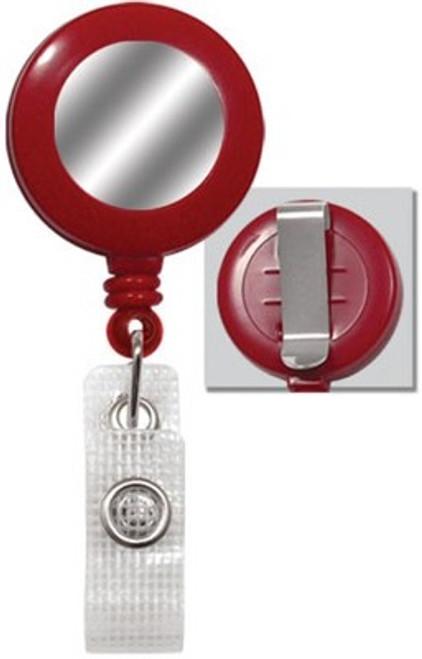 Red Badge Reel with Silver Sticker, Reinforced Vinyl Strap & Belt Clip (25/pk)