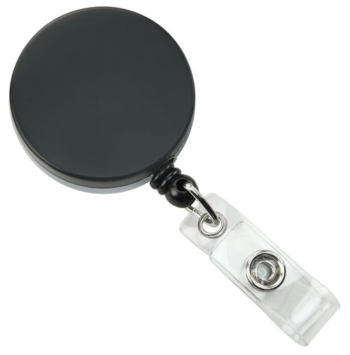 Black /Chrome Heavy Duty Badge Reel with Nylon Cord Clear Vinyl Strap & Belt Clip (25/pk)
