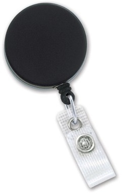 Black-Chrome Heavy-Duty badge Reel with Nylon Cord Reinforced Vinyl Strap & Belt Clip (25/pk)