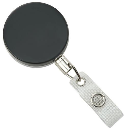 Black-Chrome Heavy-Duty badge Reel with Link Chain Reinforced Vinyl Strap & Belt Clip (25/pk)