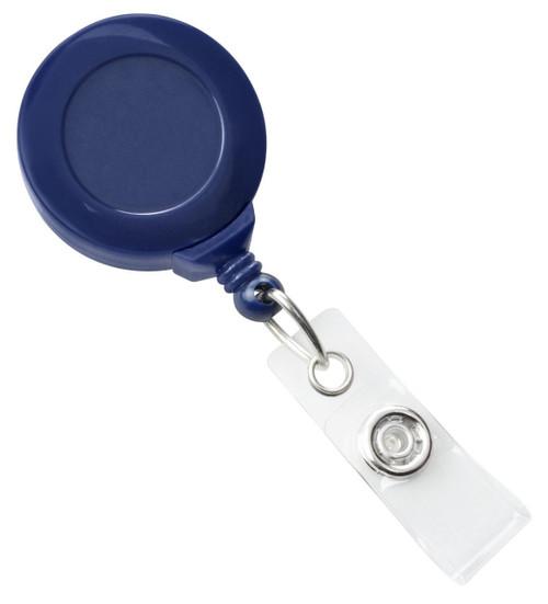 Navy Blue Badge Reel with Clear Vinyl Strap & Swivel Spring Clip (25/pk)