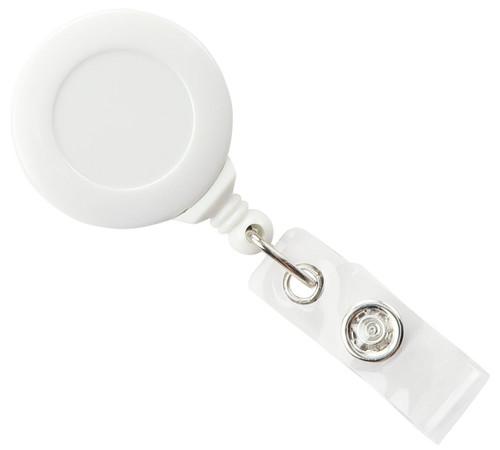 White Badge Reel with Clear Vinyl Strap & Swivel Spring Clip (25/pk)