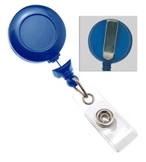 Navy Blue No-Twist Badge Reel with Clear Vinyl Strap & Belt Clip (25/pk)