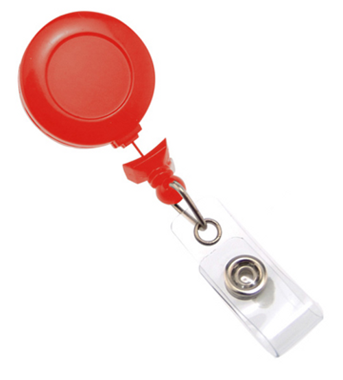 Red No-Twist Badge Reel with Clear Vinyl Strap & Belt Clip (25/pk)