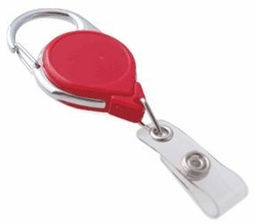 Red Carabiner Badge Reel With Strap (25/pk)
