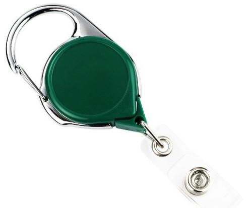 Green Carabiner Badge Reel With Strap (25/pk)