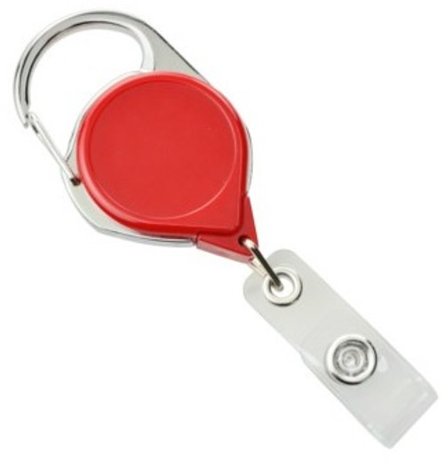 Red Carabiner Badge Reel with Strap and Clip (25/pk)