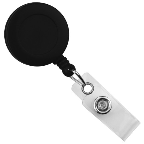 Black Round Badge Reel With Strap And Swivel Clip (25/pk)