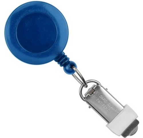 Royal Blue Round Badge Reel With Card Clamp And Swivel Clip (25/pk)