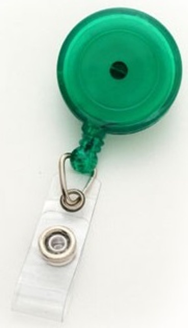 Translucent Green Round Badge Reel With Strap And Swivel Clip (25/pk)