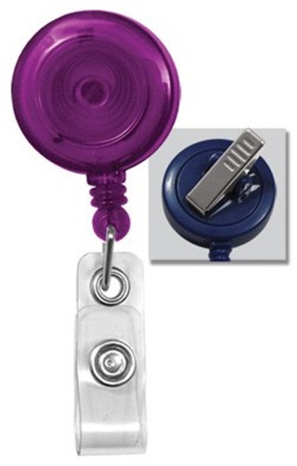 Translucent Purple Round Badge Reel With Strap And Swivel Clip (25/pk)