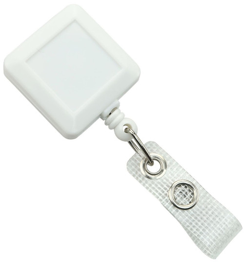 White Square Badge Reel with Reinforced Vinyl Strap & Belt Clip (25/pk)