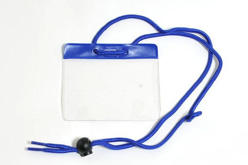 """Vinyl Horizontal Holder with Blue Color Bar and Neck Cord, 3.85"""" x 2.68"""" (100/pk)"""