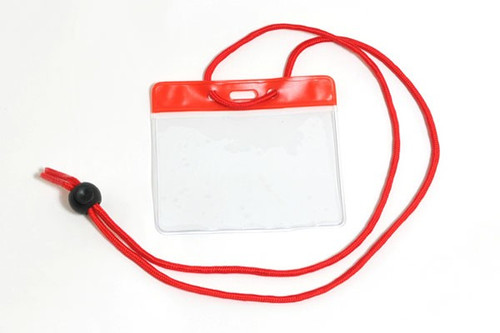 """Vinyl Horizontal Holder with Red Color Bar and Neck Cord, 3.85"""" x 2.68"""" (100/pk)"""