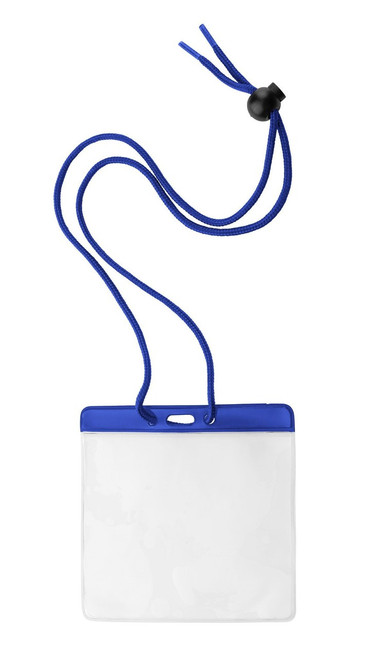 "Vinyl Horizontal Holder with Blue Color Bar and Neck Cord, 4.38"" x 3.75"" (100/pk)"